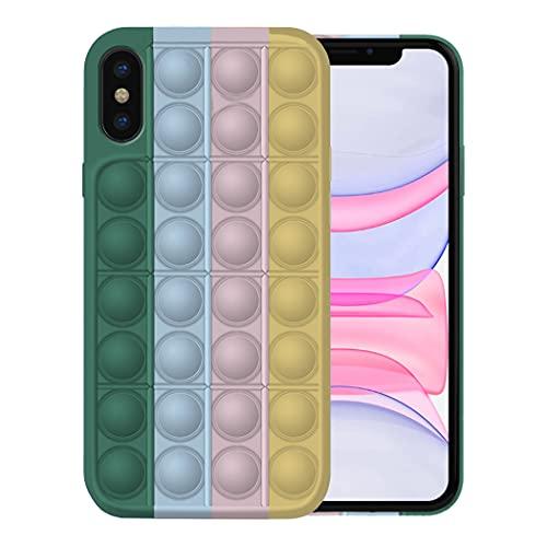 Fidget Toy Funda para iPhone X/XS/XS MAX Apple,Fidget Toy Pack iPhone X/XS/XS MAX Funda Silicona Antigolpes Pop It Fidget Toys Set Case (iPhone XS, 7)
