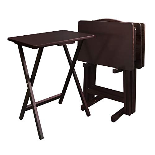 Casual Home 5 Piece Tray Table Set, Espresso