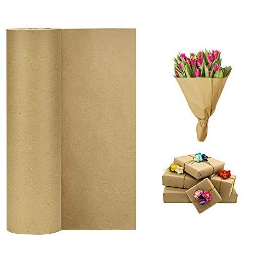 KLYNGTSK Braun Kraftpapier Rolle Natürliches Recyclingpapier 30cm*30m Kraftpapier Papierrolle Braun Verpackungspapier Geschenkpapierrolle Vintage Packpapierrolle für Kunsthandwerk Geschenkverpackung