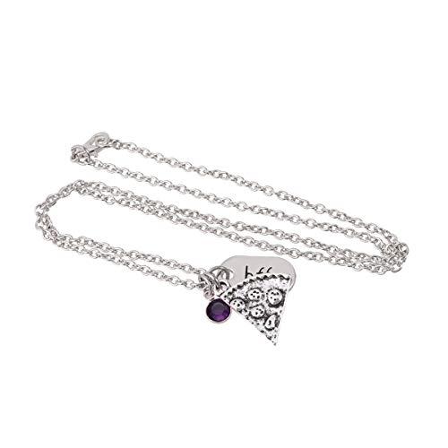 Toyvian Pizza Necklace Friendship Necklace Alloy Necklace Sweater Necklace for Couple Friends Family Purple