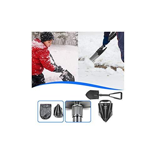 Pala plegable – Material ligero de acero al carbono y diseño ergonómico – Pala plegable con bolsa para exterior, camping, eliminación de nieve