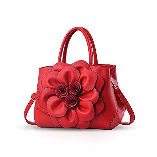 NICOLE & DORIS Borsa donna alla moda a fiori Borsa a mano Borsa a tracolla elegante borsa messenger Borse Tote in PU Pelle Rosso