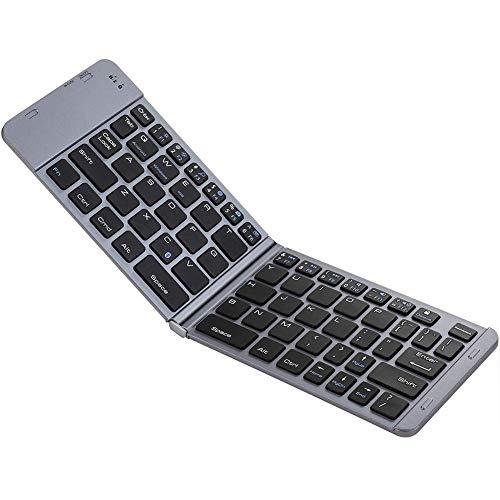 Plegable teclado Bluetooth portátil delgado tamaño de bolsillo compacto mini teclado inalámbrico universal para smartphones tablets trabajo de viaje de negocios,Gray
