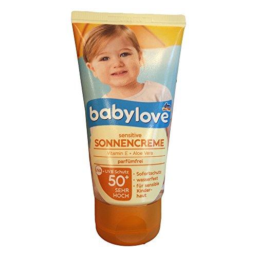 Babylove sensitive Sonnencreme Vitamin E + Aloe Vera, parfümfrei, LSF50+ (75ml Tube)