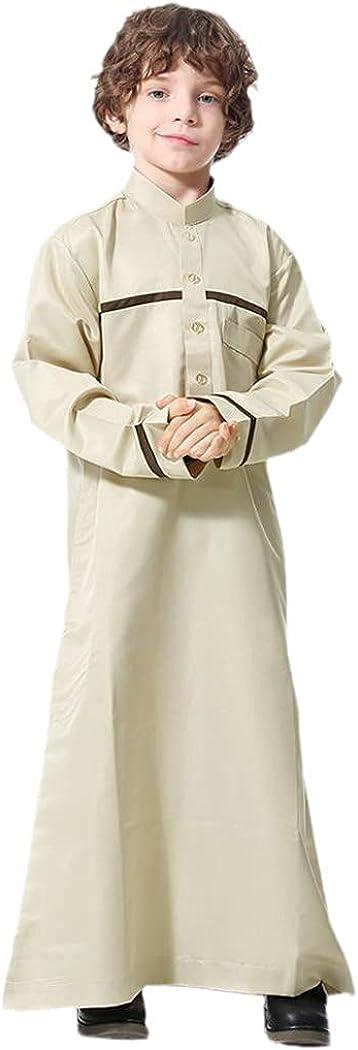 Dubai Arab Muslim Kids Abaya Jubba Thobe, Boy Stand Collar Long Dress, Children Islamic Robe Ramadan Caftan Kaftan