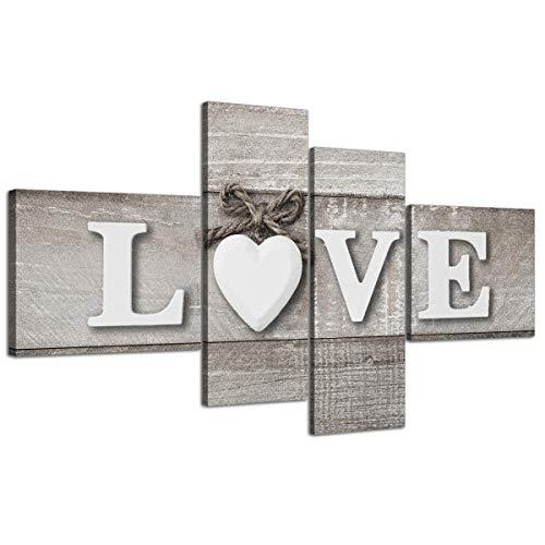 Grande Shabby Chic Love Quote – Beige Lienzo Pared Art Prints – Multi 4 Parte – 4297 Wallfillers