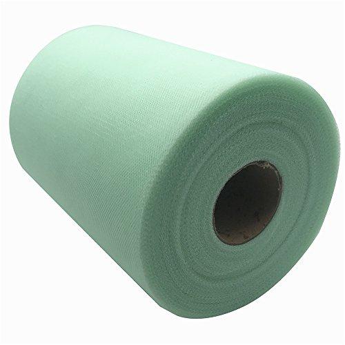 Carrete de tela de tul de 15,2 cm x 91,4 m, 59, colores disponibles, para caminos de mesa, sillas, lazos, faldas, costura, manualidades, tela para boda, fiesta, regalos. verde menta