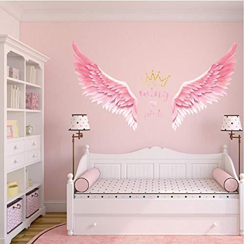 GVFTG Angel Wings Muurstickers Ins Slaapkamer Muurdecoratie Kamerindeling Zelfklevende Verwijderbare Behang Kamerdecoratie 90X60cm