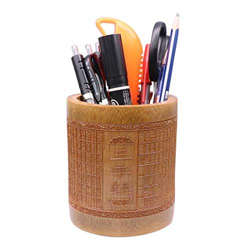 QiCheng&LYS Portalapices de madera, Portalapices madera organizador vintage chino de madera de bambú para escritorio oficina escuela, Color Ancient Chinese (caracteres chinos)