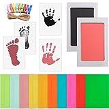 WOWOSS Kit de Marco de Fotos para Manos y Huellas de Bebé, 10 Marcos de Fotos con 10 Pinzas de Madera y Cuerda (Negro y Rosa)