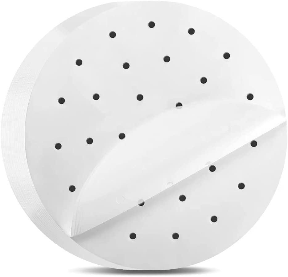 Air Fryer Parchment Paper Liners: 8 inch Round Air Fryer Liners,200pcs Perforated Parchment Paper for Air Fryer Bamboo Steamer Baking Pan