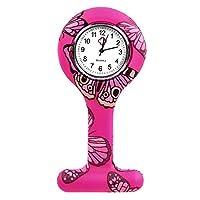 AQBD 懐中時計 女性の女の子 ファッション 蝶 花柄 看護師 ピンに飾りブローチラペル シリコーン保護カバー 医師のためのスクエアポケット時計 (38#)