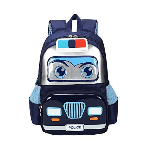 Kinder-Rucksack mit Polizeiauto-Motiv, kleine Schultasche, leicht, Vorschule, Kindergarten, elementare Büchertaschen, Reisen, Tagesrucksack für Jungen