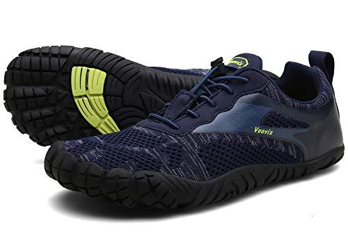 Voovix Herren Trekkingschuhe Damen Wanderschuhe Barfußschuhe Laufschuhe Traillaufschuhe Knit Sneaker Fitnessschuhe im Sommer blue42