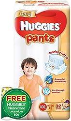 Huggies Gold Pants Diapers XXL + FOC Wipes, 32ct