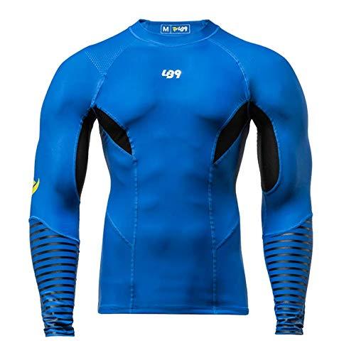 LB9 Rashguard Langarmtrikot mit UV-Schutz, perfekt für Kanu, Kajak, Surf, Meer (Medium, Blau)