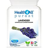 Lavender 500mg 60 Capsules (V) Purest- no additives. Vegan Capsules for Anxiety, Relaxation and Sleep. Made by Health4All