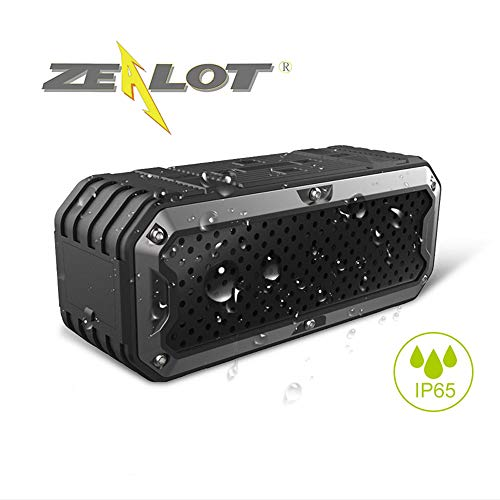 Zealot Wireless Outdoor Waterproof Bluetooth Speaker S6 Portable Altavoces Altoparlante SD Card32G Bass Audio Cable Stereo 5200mAh Battery(Black)