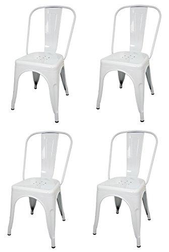 La Silla Española - Pack 4 Sillas estilo Tolix con respaldo. Color Blanco. Medidas 85x54x45,5