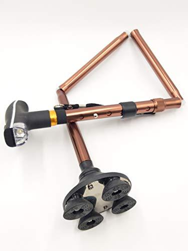 bastón 5 en 1 .LED luz AAA. Soporte de 4 Puntos. Articulación del Tobillo. telescópico. Plegable. Ajustable. Auto de pie. muleta anciana, (Otro) 🔥