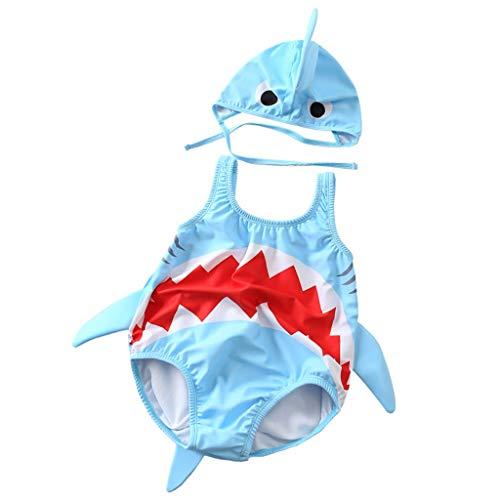 Kinder Badeanzug Baby Cartoon-Haifisch Ärmellos Jungen Mädchen Kleinkind Ein Stück Badebekleidung + Badekappe
