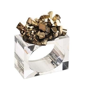 Kim Seybert Geode Napkin Ring In Gold, Set of 4