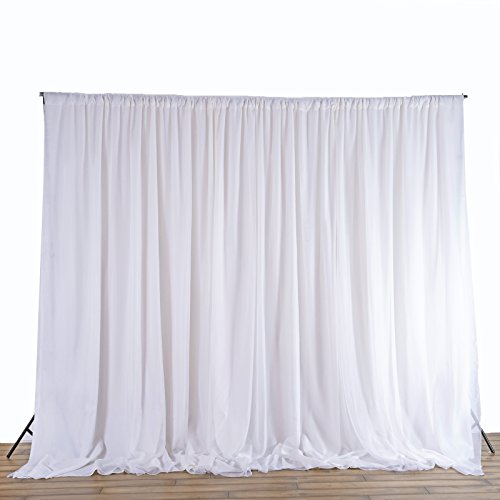 BalsaCircle 20 ft x 10 ft White Chiffon Fabric Backdrop Drapes Curtain - Wedding Decorations Photo Booth Reception Photography Party Supplies