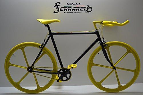 Cicli Ferrareis Fixed Bike Single Speed Bici Scatto Fisso Nera e Gialla Personalizzabile