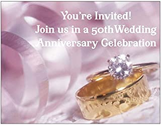 Wedding Anniversary Party Invitation with Wedding Rings Photo for 50th Wedding Anniversary - 50 /Pack with Envelopes - Style #50PWR