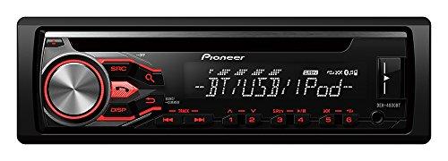 Pioneer DEH-4800BT Multifunktionales CD Autoradio mit Bluetooth Freisprecheinrichtung inkl. externem Mikrofon, USB und AUX-IN |  Parallelbetrieb von 2 Telefonen |  abnehmbarer Front