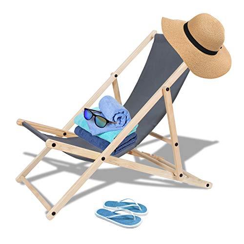 TolleTour klappbar Holzliegestuhl Campingstuhl Abnehmbarem Sonnenliege für den Strand, Camping, 120 kg max.(Grau)