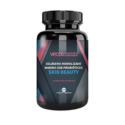 Vecos Skin Beauty - Elasticidad, luminosidad e hidratación para la piel – Colágeno hidrolizado marino con elastina y probióticos específicos para la salud de la dermis y anti arrugas – 100 cápsulas