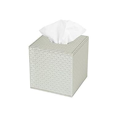JackCubeDesign Square Tissue Box Cover Holder Case Kleenex Cover Holder Box Napkin Holder Organizer Stand(Silver, 5.4 X 5.4 X 5.6 inches)- MK272C