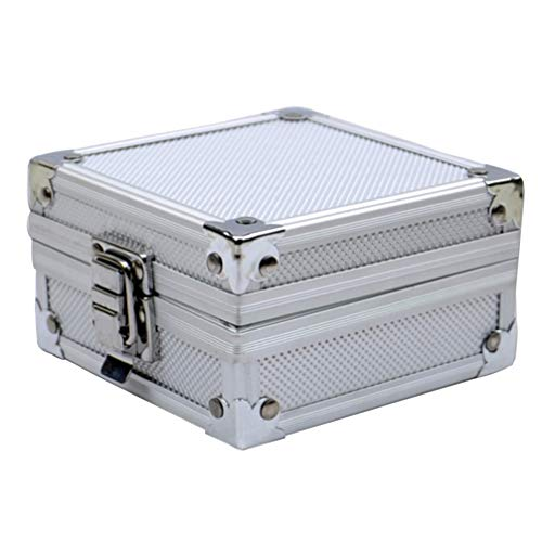 Kit de tatuagem Healifty caixa caixa de tatuagem máquina capa de liga de alumínio bandeja de armazenamento acolchoada esponja para maquiagem microblading suprimentos 110 x 110 x 60 mm