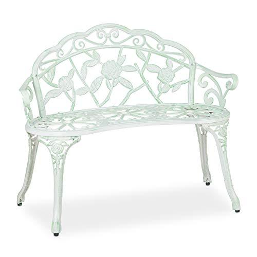 Relaxdays Gartenbank, 2 Sitzer, Rosen, Terrasse, Balkon, Alu & Gusseisen, antike Sitzbank, 78 x 98 x 55,5 cm, weiß/grün