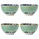 Maxwell & Williams Laguna Small Bowls for Snacks, Dips and Nuts with Hand-Painted 'Port' Design, Porcelain, Light Green / White, 10 cm, 4-Piece Bowl Set