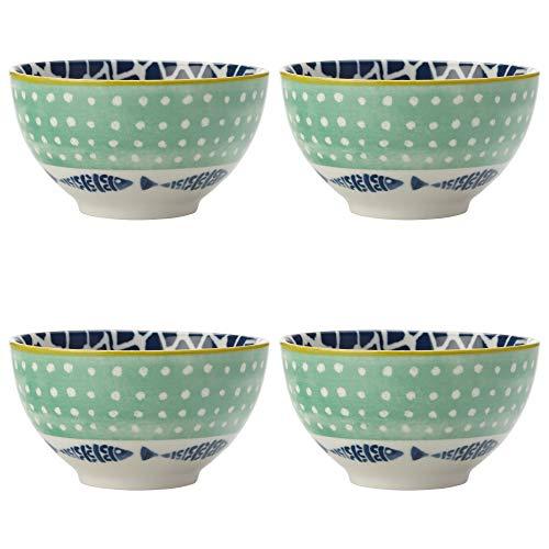 Maxwell Williams 5251645 Laguna - Juego de cuencos (porcelana, 10 cm), diseño de puerto, color verde y blanco
