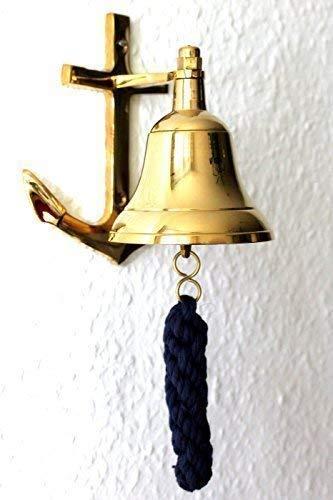 Deko Schiffsglocke Glocke Ø 5cm Wandhalterung Messing poliert 7056