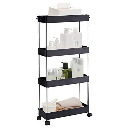ArderLive 4 Tier Slim Storage Cart,Storage Racks with Wheels Rolling Storage Cart Mobile Shelving...