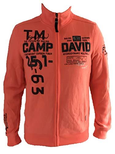 Camp David Herren Sweatjacke mit vielen Label-Applikationen