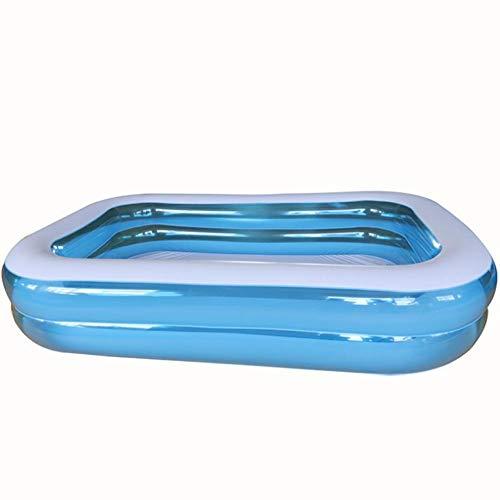 OKOUNOKO Fast Set Pool, Gartenpool selbstaufbauend mit aufblasbarem Luftring rund im Komplett Set, Inflator, Transparent-150x110x50cm DREI Schichten