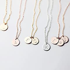 A Delicate Initial Disc Necklace - Rose Gold Initial Necklace - Best Friend Gift Personalized Bridesmaid gifts - Mothers Day Gift Name Necklace Graduation Gifts round necklace coin necklace Valentines day gift handmade necklace handmade jewelry hand ...