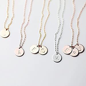 Delicate Initial Disc Necklace Valentines Day Gifts Rose Gold Initial Necklace Best Friend Personalized Bridesmaid Gift…