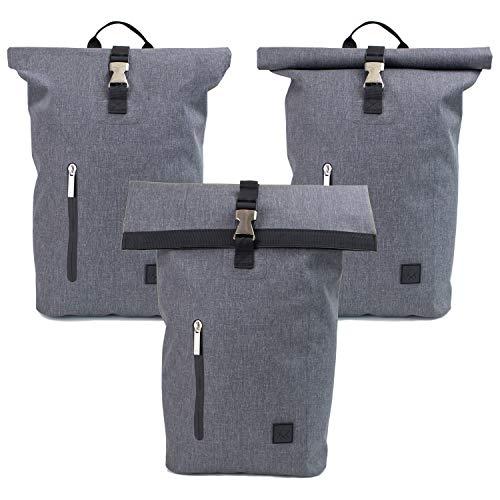 The Friendly Swede Rolltop Rucksack mit 13 Zoll Laptopfach - Städtisch Leicht, Wasserfestes TPU - Minimalistischer Laptop Kurierrucksack Wasserdicht für Schule, Uni, Arbeit - Berthåga 16L (Grau)