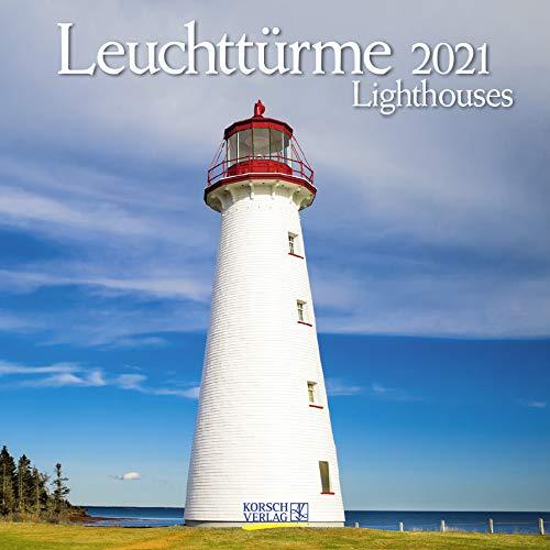 Leuchttürme 2021: Broschürenkalender mit Ferienterminen. Leuchtturm und Küste. 30 x 30 cm - Wandkalender