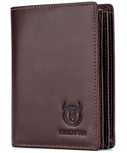 Bullcaptain RFID Blocking Bi-Fold Premium Genuine Leather Wallet with 15 Card Slots + 2 Cash Compartments + 1 ID Window For Men 1