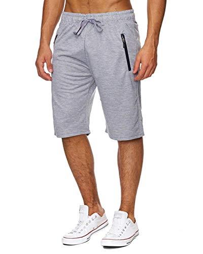 Voncheer Mens Casual Summer Elastic Waist Drawstring Shorts with Zipper Pockets (M, Light Grey Mens Shorts)