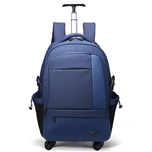 Xyanzi 50L Trolley Backpack for Business, Water-Resistant Rolling Wheeled Backpack for Schooling & Travel,Lightweight Trolley School Bag for Students (Color : Blue)