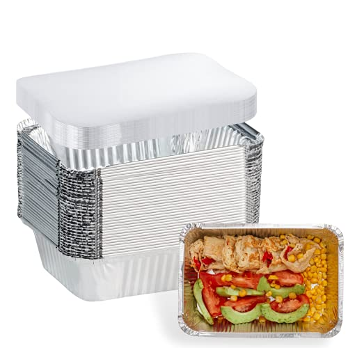 20 Pack Aluminum Pans Disposable Takeout Containers - 7'×5', 1.5 LB Recyclable Tin Foil Pans with Lid - 20 Pans and 20 Lids - Foil Food Containers for Restaurants, Meal Prep, Takeout, Freeze