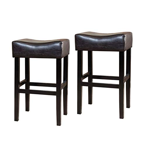 Christopher Knight Home Portman Leather Backless Barstools, 2-Pcs Set, Brown